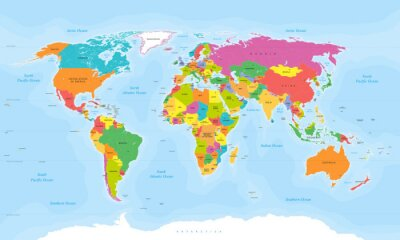 Adesivo Vetor do mapa de mundo. Etiquetas inglesas / americanas