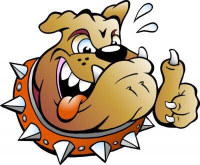 Adesivo Vetorial, caricatura, Ilustração, excitado, touro, cão, dar, polegar, cima
