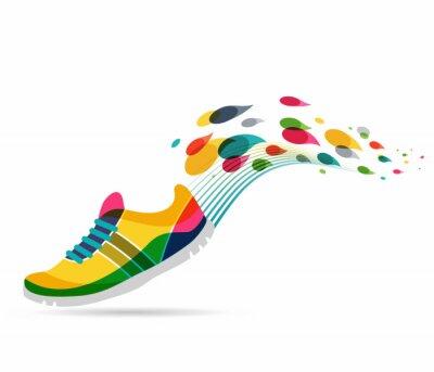 Adesivo Vetorial, cartaz, correndo, desporto