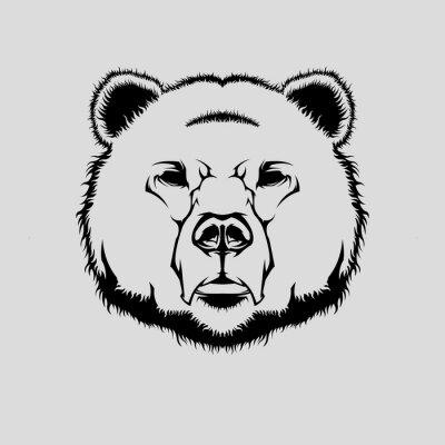 Adesivo Vetorial, Ilustração, grizzly, urso, cabeça