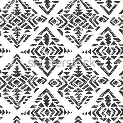 Adesivo Vetorial mão desenhada padrão étnico sem alterar com elementos abstratos tribais no estilo de desenho preto branco doodle