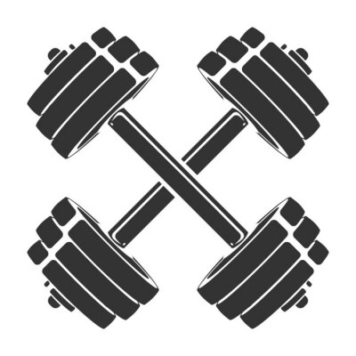 Adesivo Vetorial mão desenhada silhueta de halteres cruzados, isolados no fundo branco. Modelo de ícone do esporte, símbolo, logotipo ou outra marca. Ilustração retrô moderna.