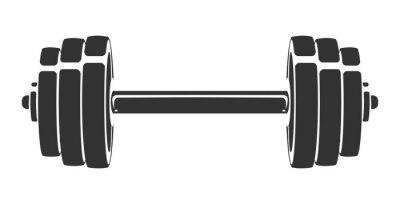 Adesivo Vetorial mão desenhada silhueta do haltere isolado no fundo branco. Modelo de ícone do esporte, símbolo, logotipo ou outra marca. Ilustração retrô moderna.