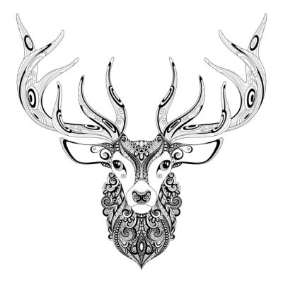 Adesivo Vetorial, Ornate, veado, Horned, cabeça