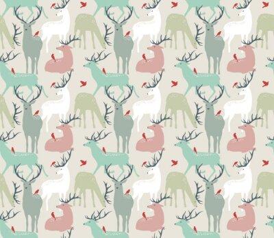Adesivo Vetorial, seamless, Padrão, Deers, pássaros