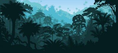 Adesivo Vetorial, tropicais, tropicais, floresta tropical, selva, fundo