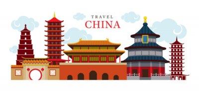 Adesivo Viagem China Edifício e Cidade, Destino, Atração, Cultura Tradicional