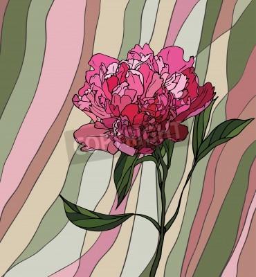 Adesivo Vidro coloridos manchado com motivo floral, uma peônia em um fundo listrado multicolorido