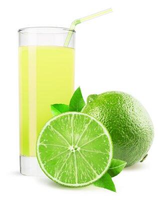 Adesivo Vidro de suco de limão isolado no fundo branco