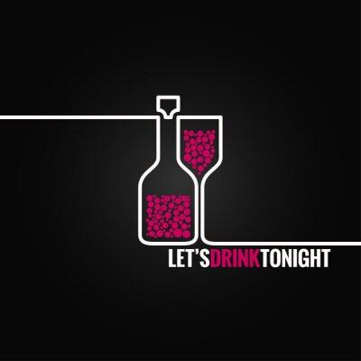 Adesivo vinho garrafa linha de fundo projeto vidro 8 eps