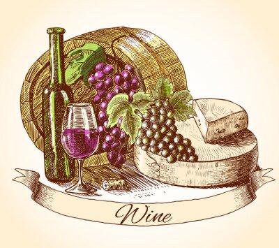 Adesivo Vinho Queijo e pão fundo