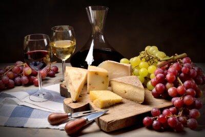 Adesivo Vinho, uvas e queijo