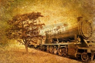 Adesivo vintage abstrato de trem a vapor