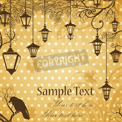 Adesivo Vintage background with tree branches and retro street lamps