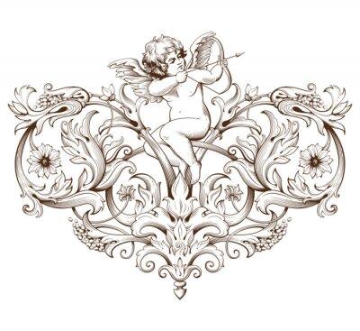 Adesivo Vintage, decorativo, elemento, gravura, barroco, Ornamento, Padrão ...