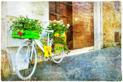 Adesivo Vintage floral bike - decoração de rua encantadora