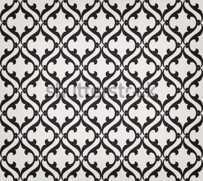 Adesivo Vintage floral sem costura padrão abstrato. Cruzando elegantes folhas estilizadas curvas e pergaminhos, formando ornamento floral abstrato em estilo árabe. Arabesco Treliça decorativa