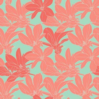 Adesivo Vintage magnolia flowers seamless pattern.