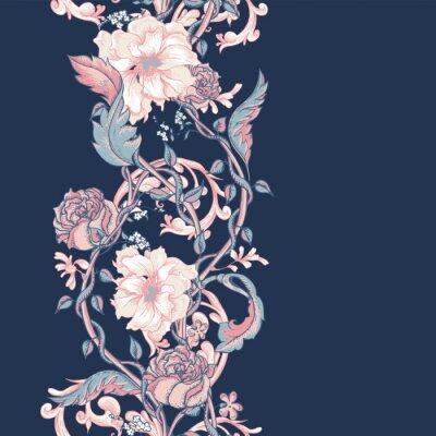 Adesivo Vintage, seamless, borda, florescendo, magnólias, rosas, galhos