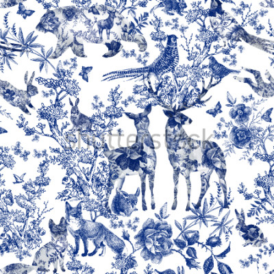 Adesivo Vintage seamless design with floral and wild animal. Fairytale forest. hand drawn pattern roses flower line graphics. fashion textile design Indigo color.
