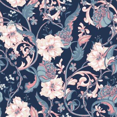 Adesivo Vintage, seamless, padrão, florescendo, magnólias, rosas, galho