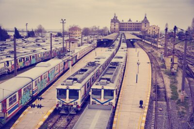Adesivo Vintage view of Hardarpasa train station with unused old graffiti trains on disused line in Istanbul