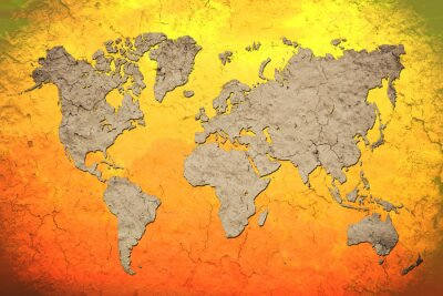 Adesivo vintage world map with Red background