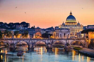 Adesivo Visão noturna da Basílica de São Pedro, em Roma, Itália