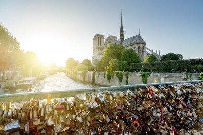 Adesivo Vista da catedral de Notre Dame em Paris com fechamentos famosos do amor