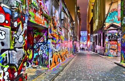Adesivo Vista de obras de arte coloridas grafite em Hosier Lane em Melbourne