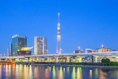 Adesivo Vista de Tokyo Skytree marco rio Sumida e à noite.