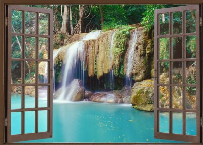 Adesivo Vista, janela, profundo, selva, cachoeira