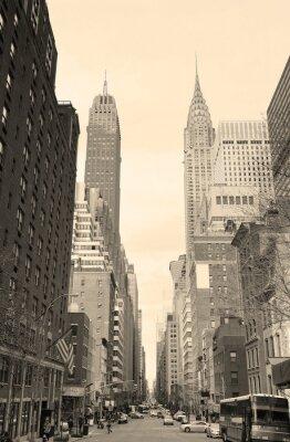Adesivo Vista para a rua New York City Manhattan em preto e branco