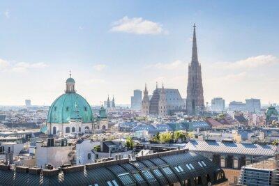 Adesivo Vista sobre Vienna Skyline com a Catedral de Santo Estêvão de manhã, em Viena, Áustria