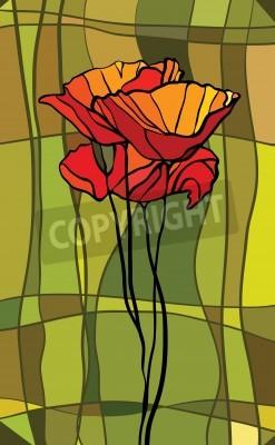 Adesivo Vitral colorido com motivo floral