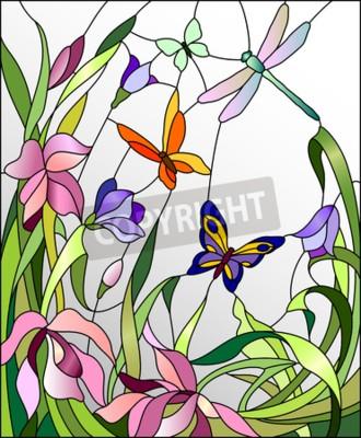 Adesivo Vitral com flores e borboletas