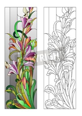 Adesivo Vitral, roxo, floral, Padrão