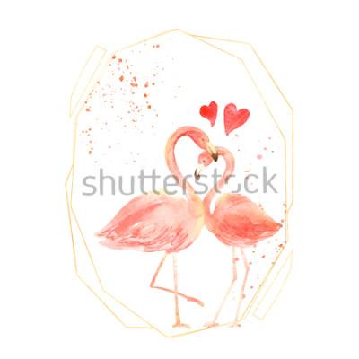 Adesivo Vivendo flamingos corais no amor. Aquarela feliz dia dos namorados cartão de saudação. Desenhado à mão. -de-rosa