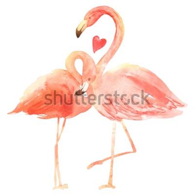 Adesivo Vivendo flamingos corais no amor. Aquarela feliz dia dos namorados cartão de saudação. Desenhado à mão. Rosa