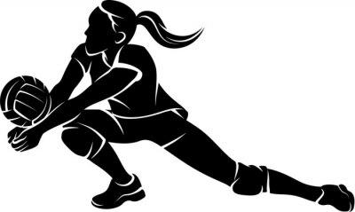 Adesivo Voleibol Dig silhueta da menina