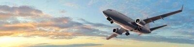 Adesivo Vôo do avião de passageiros moderno no por do sol panorama