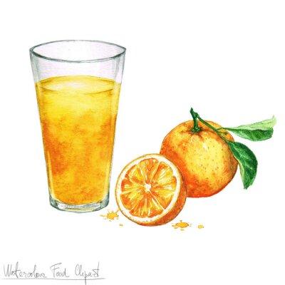 Adesivo Watercolor, alimento Clipart - laranja, suco, isolado, branca