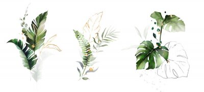 Adesivo  watercolor and gold leaves. herbal illustration. Botanic tropic composition.  Exotic modern design