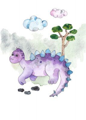 Adesivo Watercolor and graphic dinosaurs pre-made cards with Brachiosaurus, Stegosaurus on white background with watercolor shapes