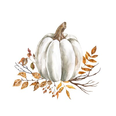 Adesivo Watercolor fall pumpkin arrangement, beautiful autumn decoration, isolated on white background. Watercolor white pumpkin with yellow and orange dry leaves and tree branches.