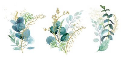 Adesivo Watercolor floral illustration set - green & gold leaf branches collection, for wedding stationary, greetings, wallpapers, fashion, background. Eucalyptus, olive, green leaves, etc.