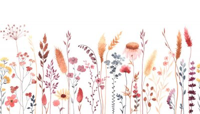 Adesivo Watercolor floral seamless pattern with colorful wildflowers, plants and grass. Panoramic horizontal border, isolated illustration. Meadow in vintage style.
