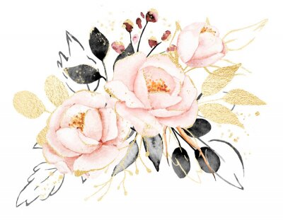 Adesivo Watercolor flowers, floral bouquet with gold gray leaves and blush pink peonies. Perfectly for print on greeting card, wedding invitation, poster. Hand drawing. Composition isolated on white.