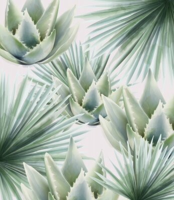 Adesivo Watercolor green palm and cactus leaves. Background vector