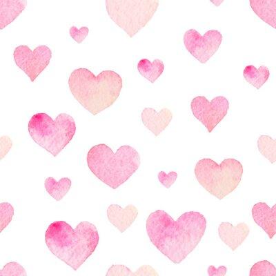 Adesivo Watercolor padrão sem emenda do vetor com corações para o Dia dos Namorados